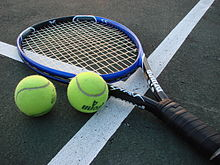 A tennis racket and two tennis balls lay on a court