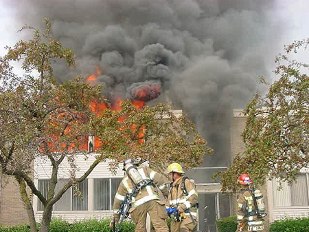 View of burning building