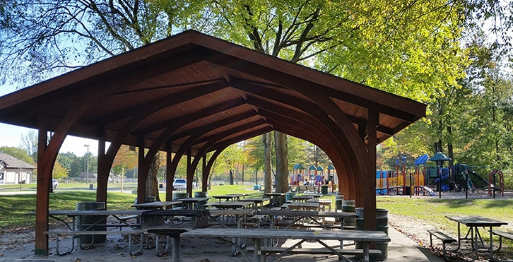 Photo of a picnic shelter in a park